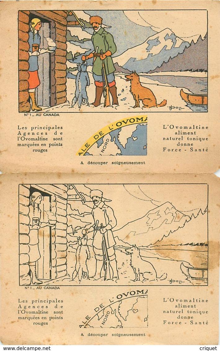 Dépliant Concours Ovomaltine Avec Image à Découper Et Colorier, Illustrateur Poil, Au Canada, Trappeur, Gibier... - Vieux Papiers