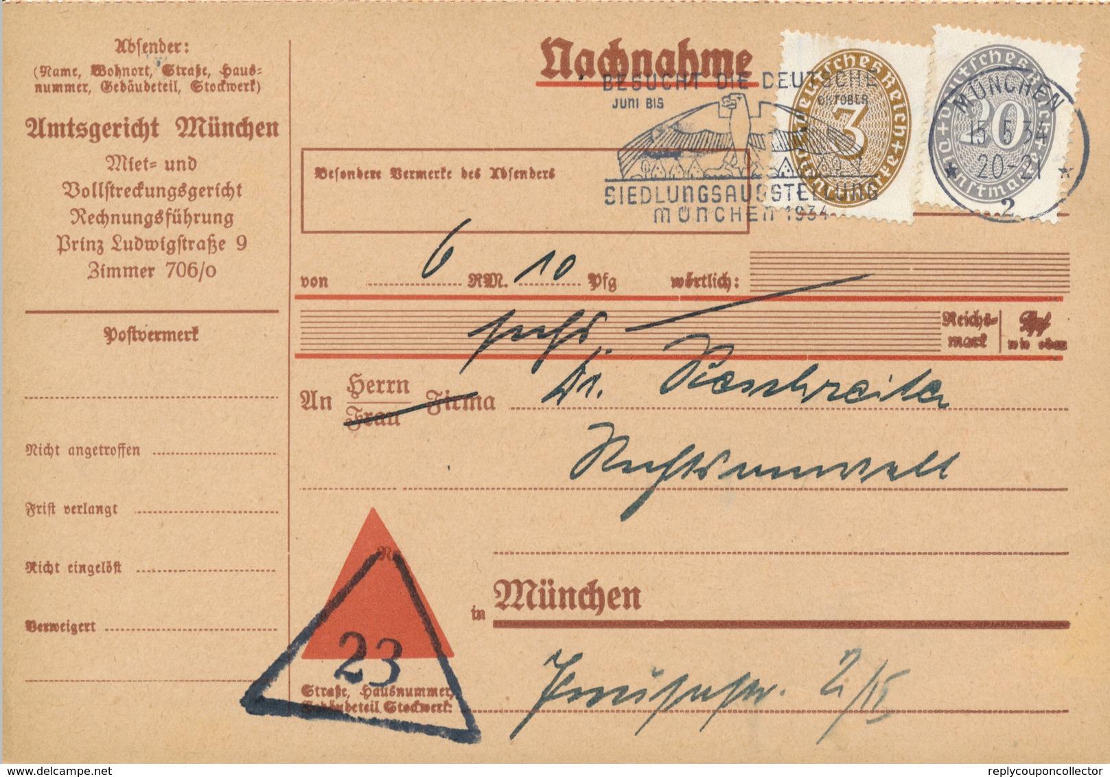MÜNCHEN - 1934 , Nachnahme-Karte - Briefe U. Dokumente