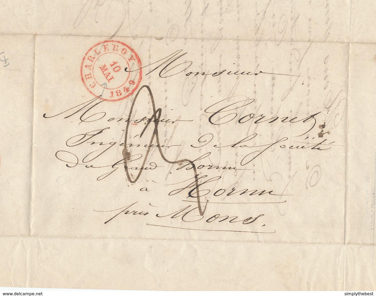 501/28 - CHARBONNAGES - Lettre Précurseur CHARLEROY 1849 Vers HORNU Près De MONS - Taxation 3 Déc. - 1830-1849 (Belgique Indépendante)