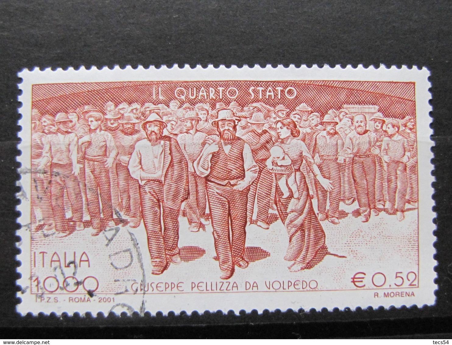 *ITALIA* USATI 2001 - QUARTO STATO PELLIZZA DA VOLPEDO - SASSONE 2563 - LUSSO/FIOR DI STAMPA - 6. 1946-.. Repubblica