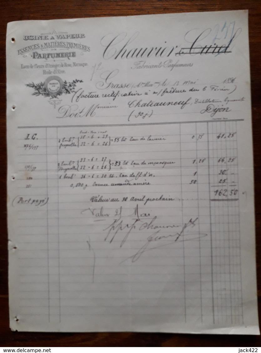 L12/74 Ancienne Facture. Grasse. Fabricants Parfumeurs. Chauvier 1896 - 1800 – 1899