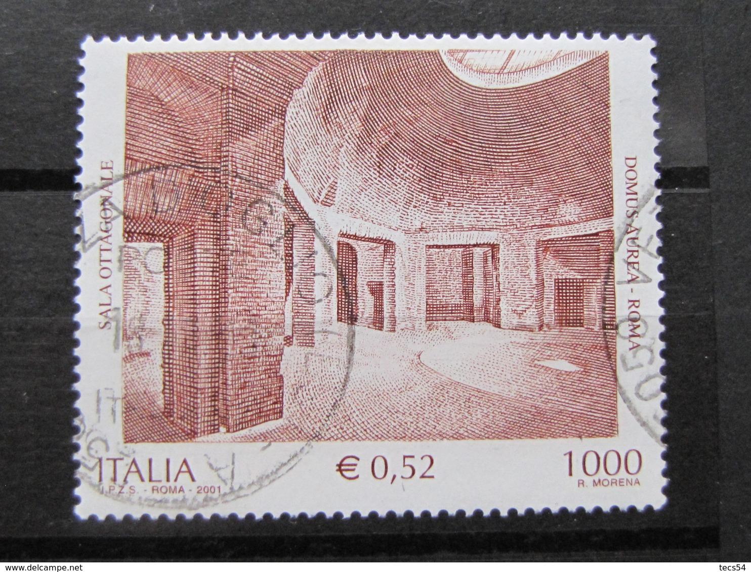 *ITALIA* USATI 2001 - DOMUS AUREA ROMA - SASSONE 2556 - LUSSO/FIOR DI STAMPA - 6. 1946-.. Repubblica