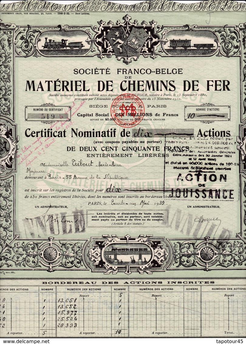 Th7CHEMIN De FER : FRANCO-BELGE : Certificat1932N° 243.00 - Actions & Titres