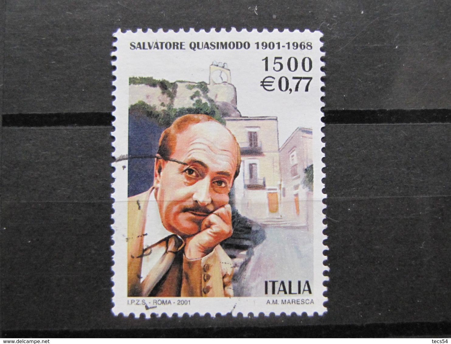*ITALIA* USATI 2001 - CENT QUASIMODO - SASSONE 2555 - LUSSO/FIOR DI STAMPA - 6. 1946-.. Repubblica