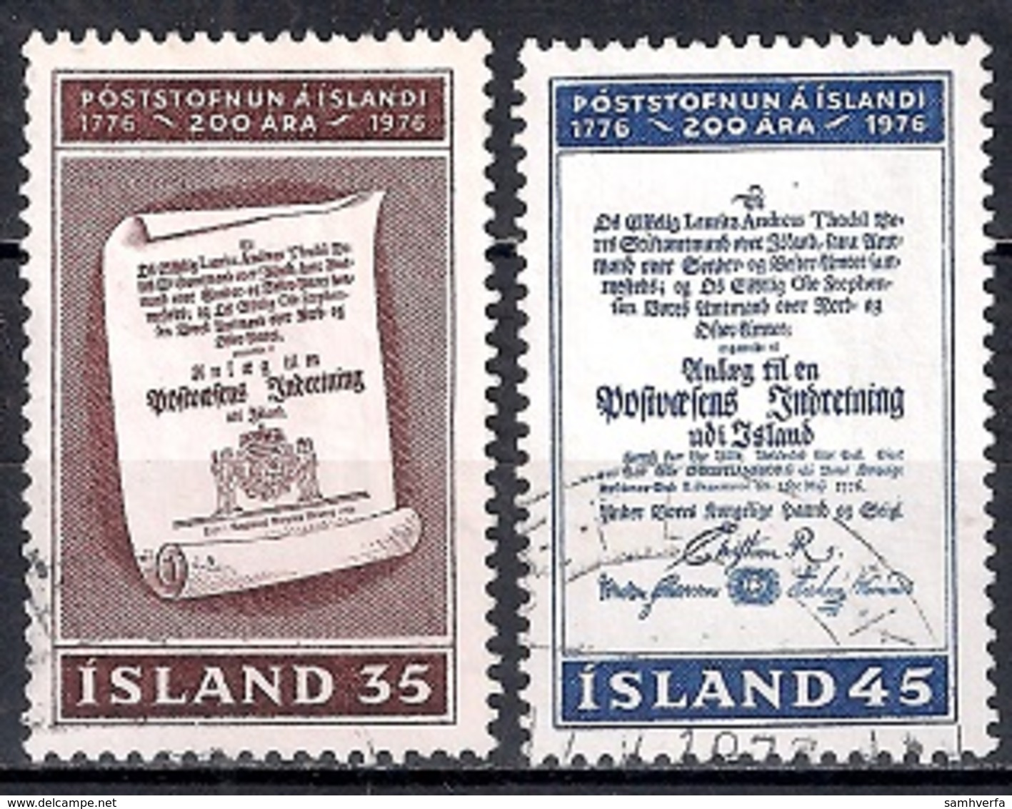 Iceland 1976 - The 200th Anniversary Of The Icelandic Post Service - Gebraucht
