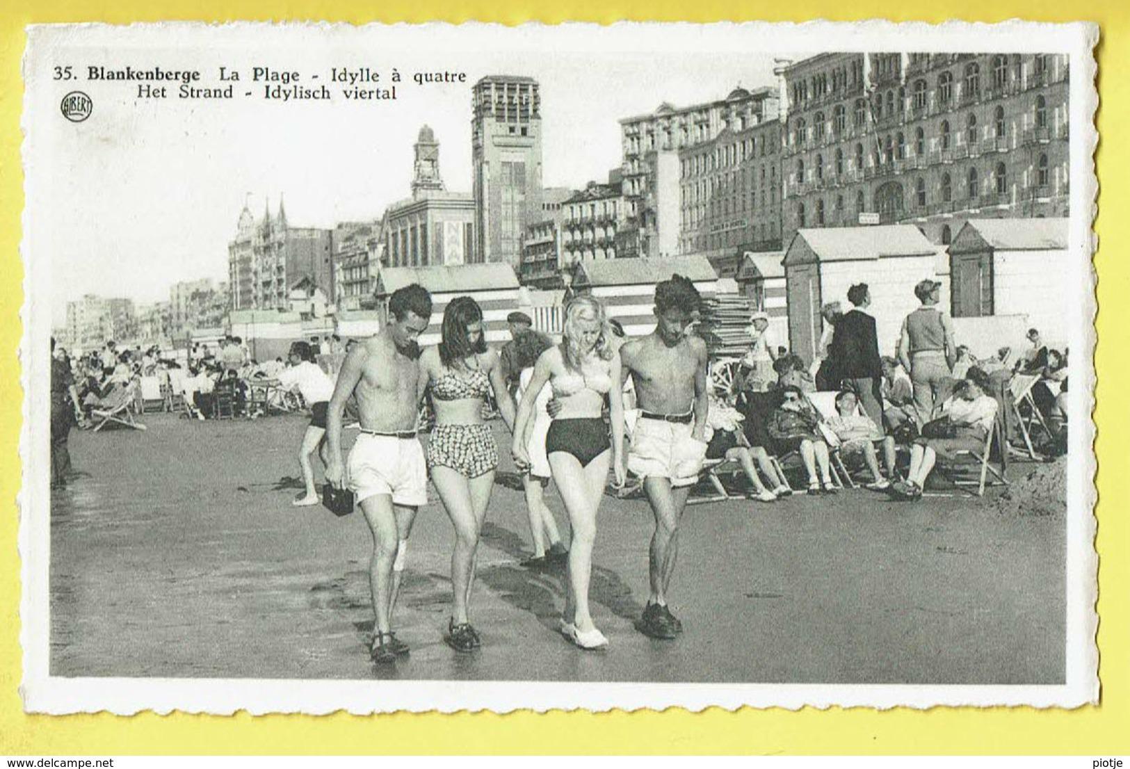 * Blankenberge - Blankenberghe (Kust - Littoral) * (Albert, Nr 35) Plage, Beach, Strand, Idylle à Quatre, Bikini, Rare - Blankenberge