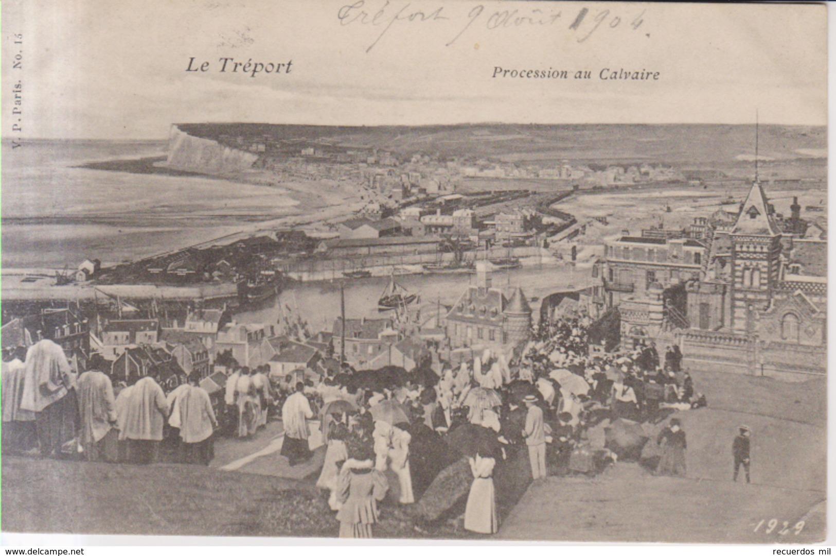 Le Treport Procession Au Calvaire   1904 - Le Treport