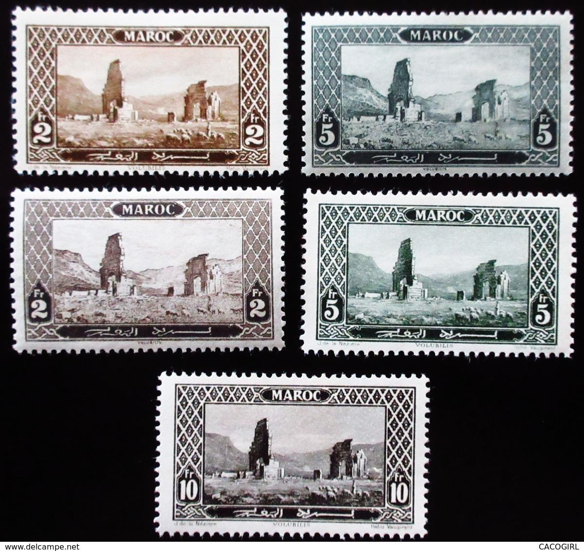 Maroc  . Ruins Of Volubilis . 5 Valeurs Avec Variantes Fr/fr Et Fond    Neuf Trace Charnière - Maroc (1891-1956)