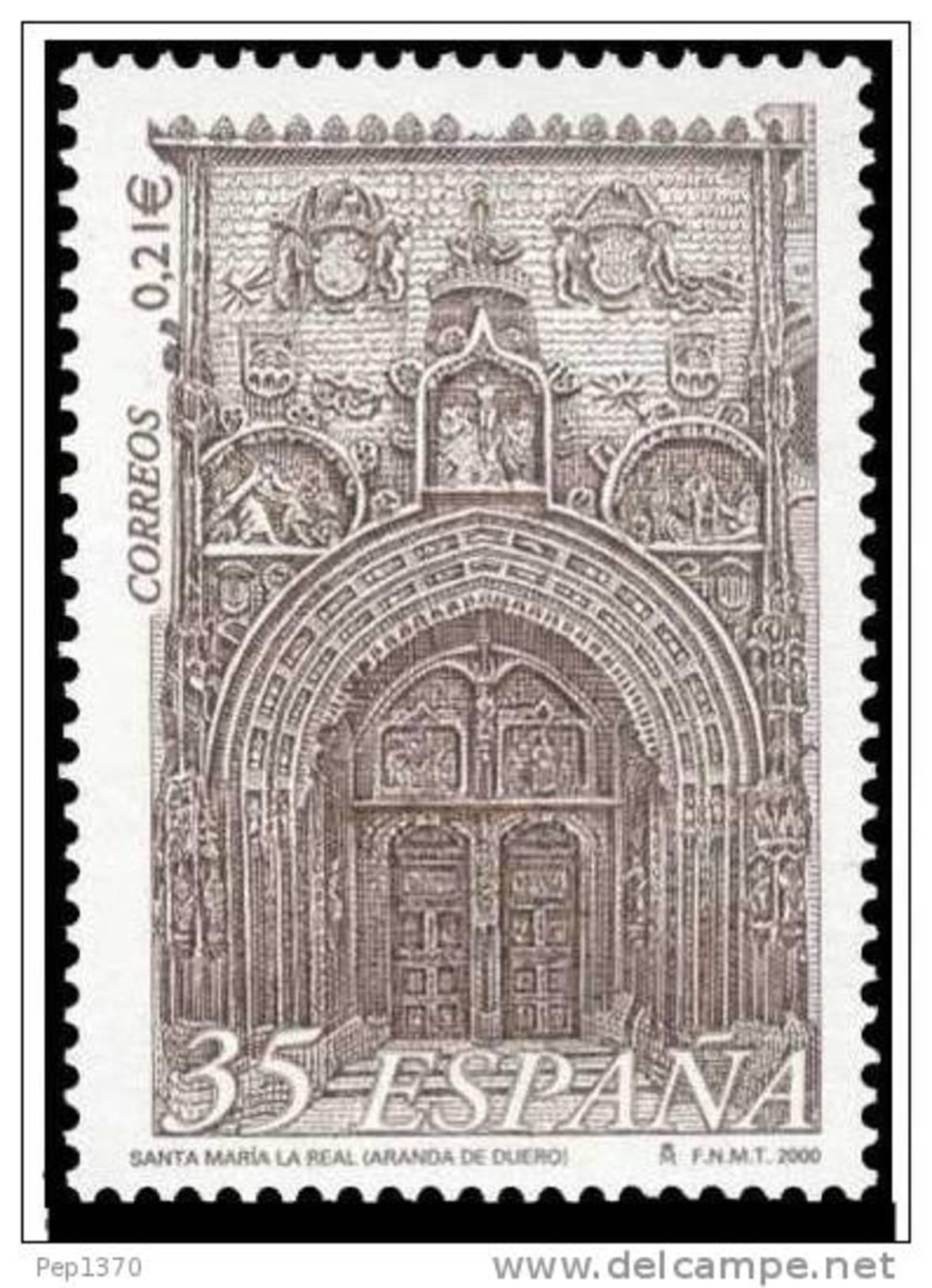ESPAÑA 2000 - IGLESIA DE SANTA MARIA LA REAL DE ARANDA DE DUERO - Edifil Nº 3771 - YVERT 3338 - 1931-Hoy: 2ª República - ... Juan Carlos I