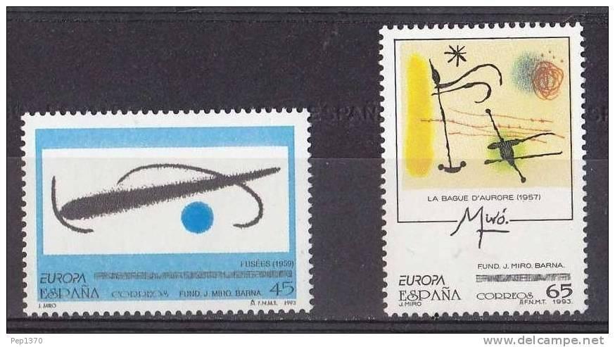 ESPAÑA 1993 - EUROPA CEPT - PINTURAS DE JOAN MIRO - Edifil Nº 3250-3251 - Yvert 2843-2844 - 1931-Hoy: 2ª República - ... Juan Carlos I