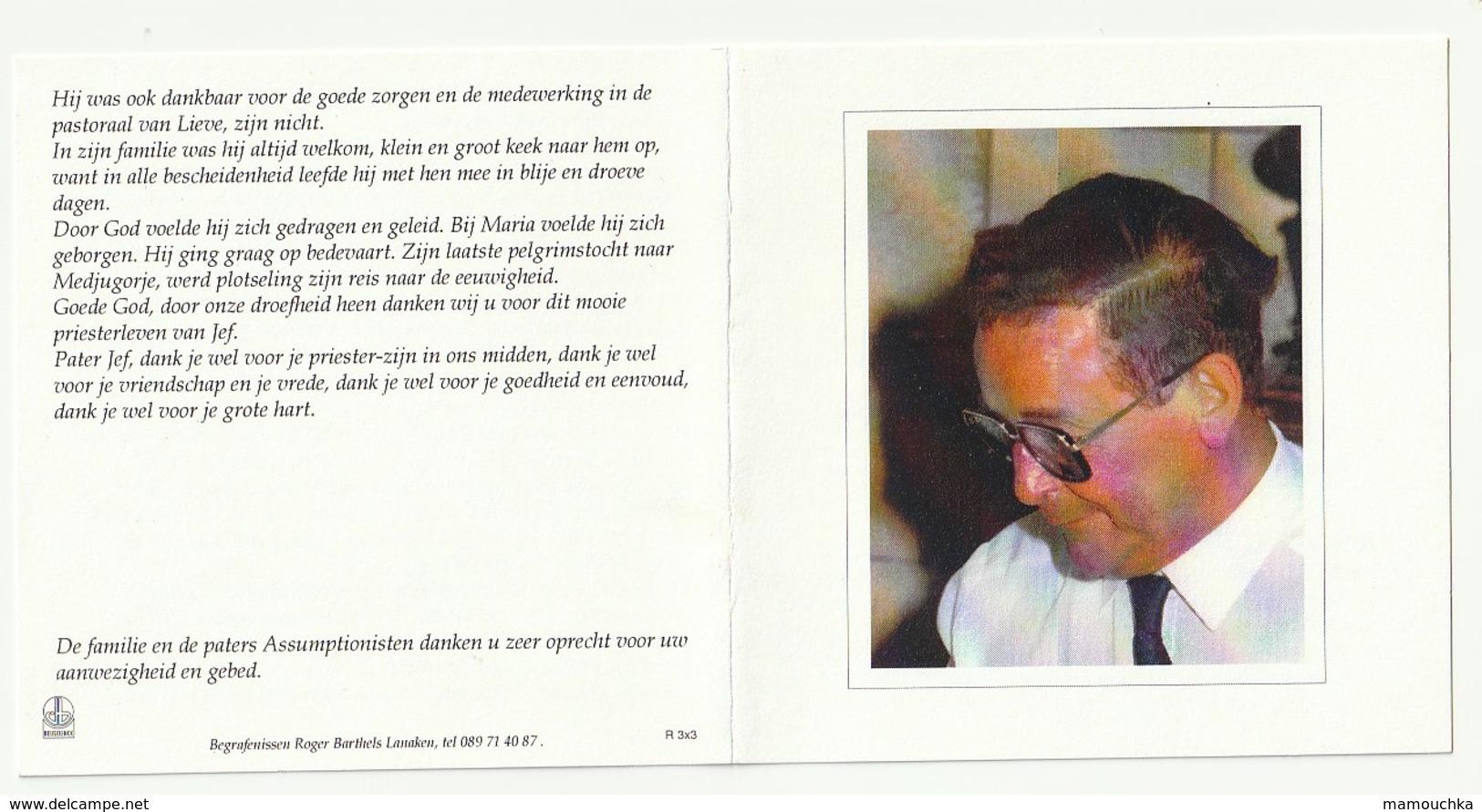 Pater Jef Marcel BASTIAENS Assumptionist Kesselt Taintignies Bergeyk Borsbeek Rotem Reppekl Lindelhoeven Mostar 2000 - Images Religieuses