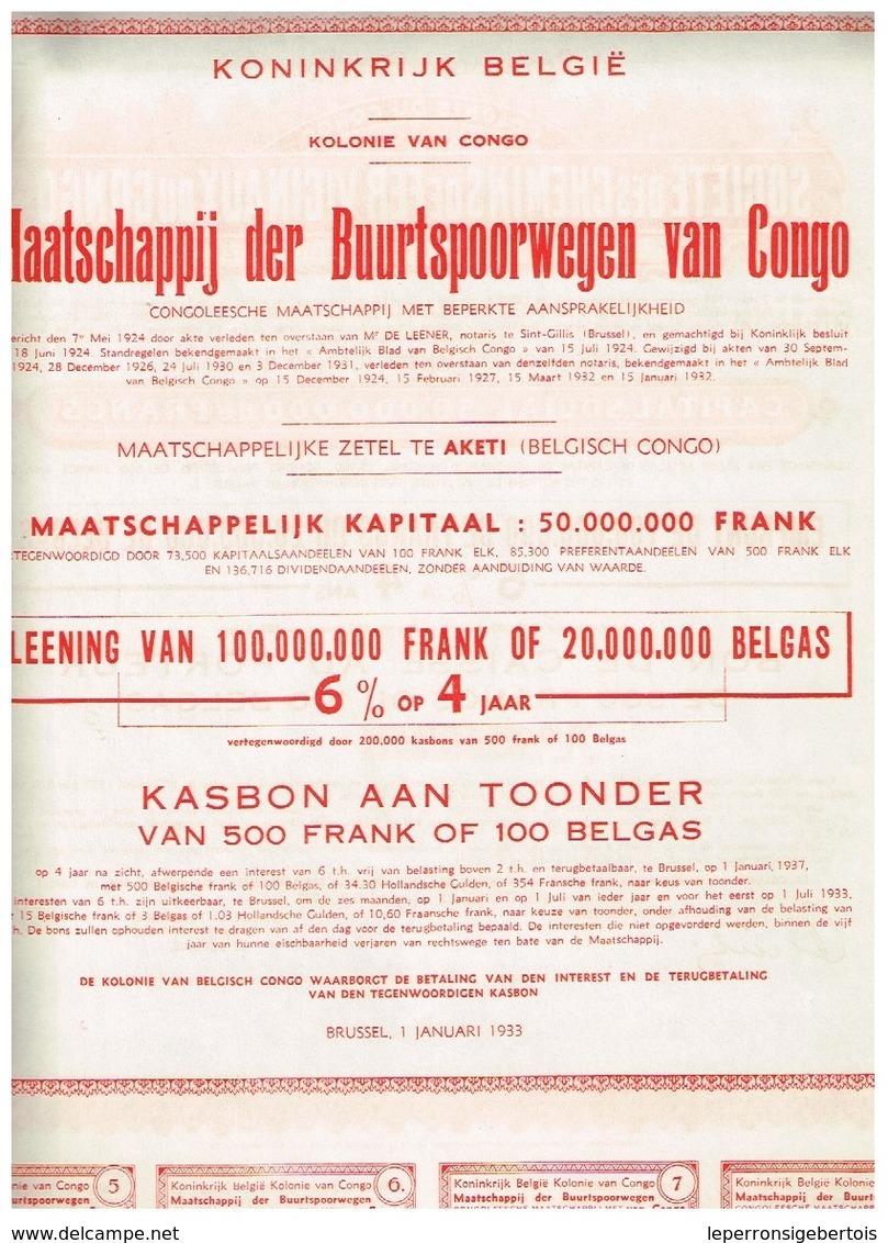 - Lot De 3 Titres Uncirculed En Relation Avec Le Congo Belge - Titres En Parfait Etat - Afrique