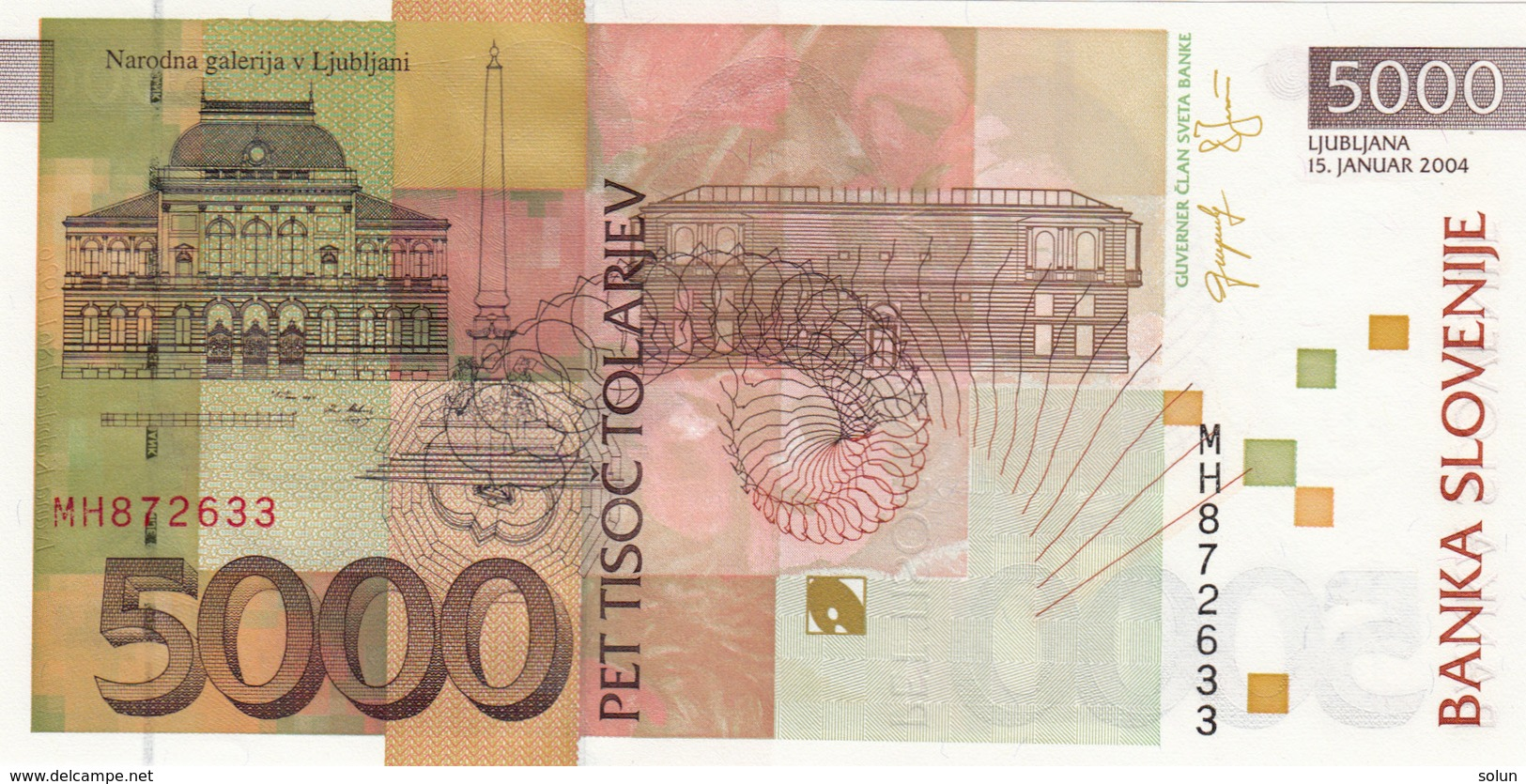 5000 TOLAR TOLARJEV 15.JANUAR 2004 BANKNOTE - Slovénie
