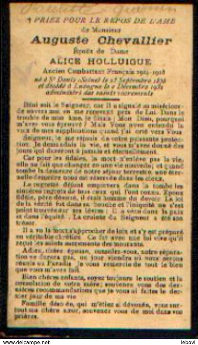 Souvenir Mortuaire CHEVALLIER Auguste (1876-1932) Né à SAINT-DENIS (Seine) Mort à LUINGNE – Combattant FRANÇAIS 14/18 - Images Religieuses