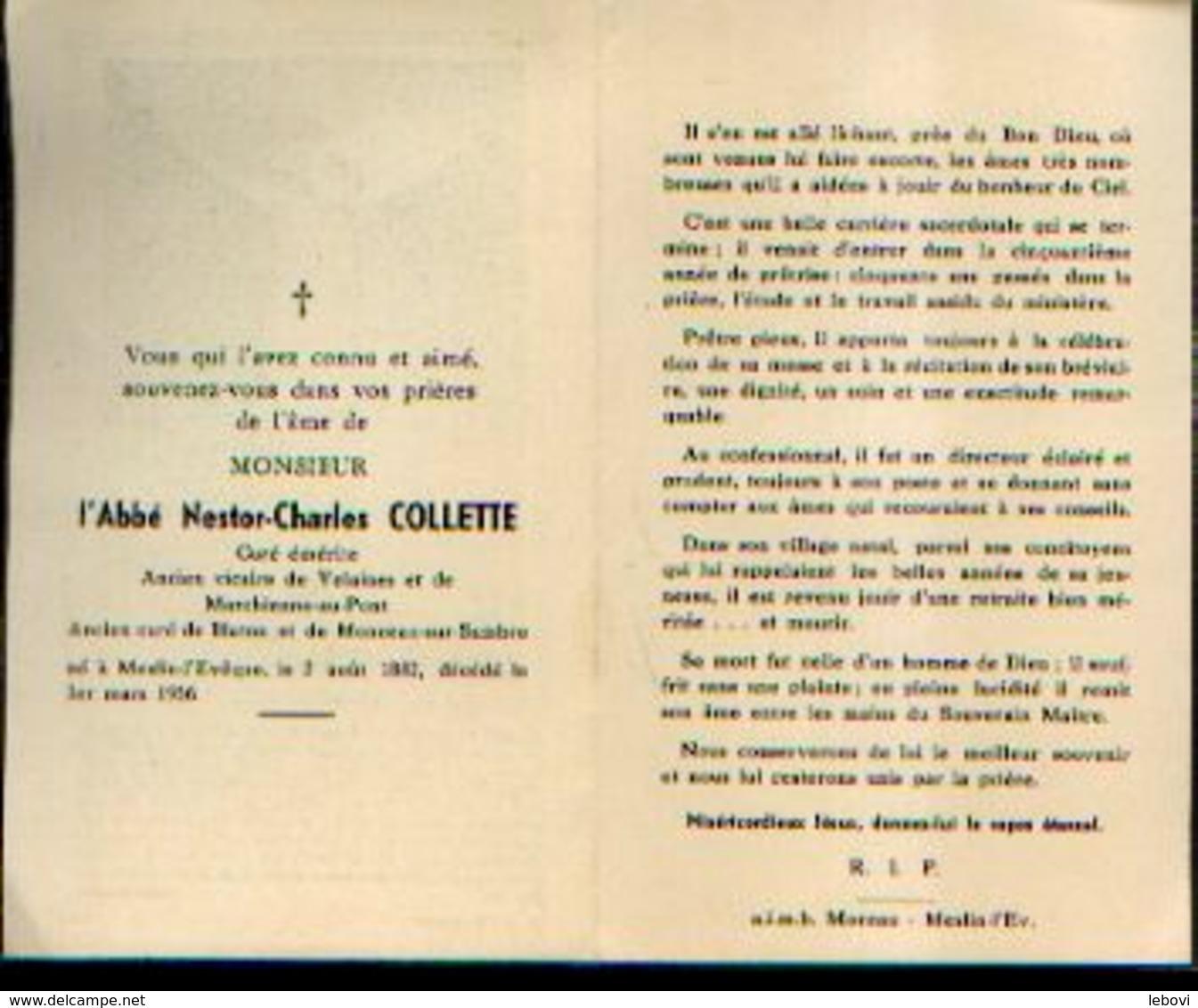 Souvenir Mortuaire Abbé COLLETTE NESTOR (1882-1956) Né Et Mort à MESLIN-L'EVÊQUE Curé à BLATON Et MONCEAU-SUR-SAMBRE - Images Religieuses