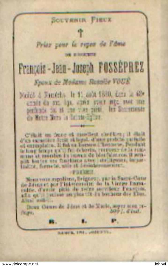 Souvenir Mortuaire FOSSEPREZ François (1832-1880) Mort à NAMÊCHE - échevin - Images Religieuses
