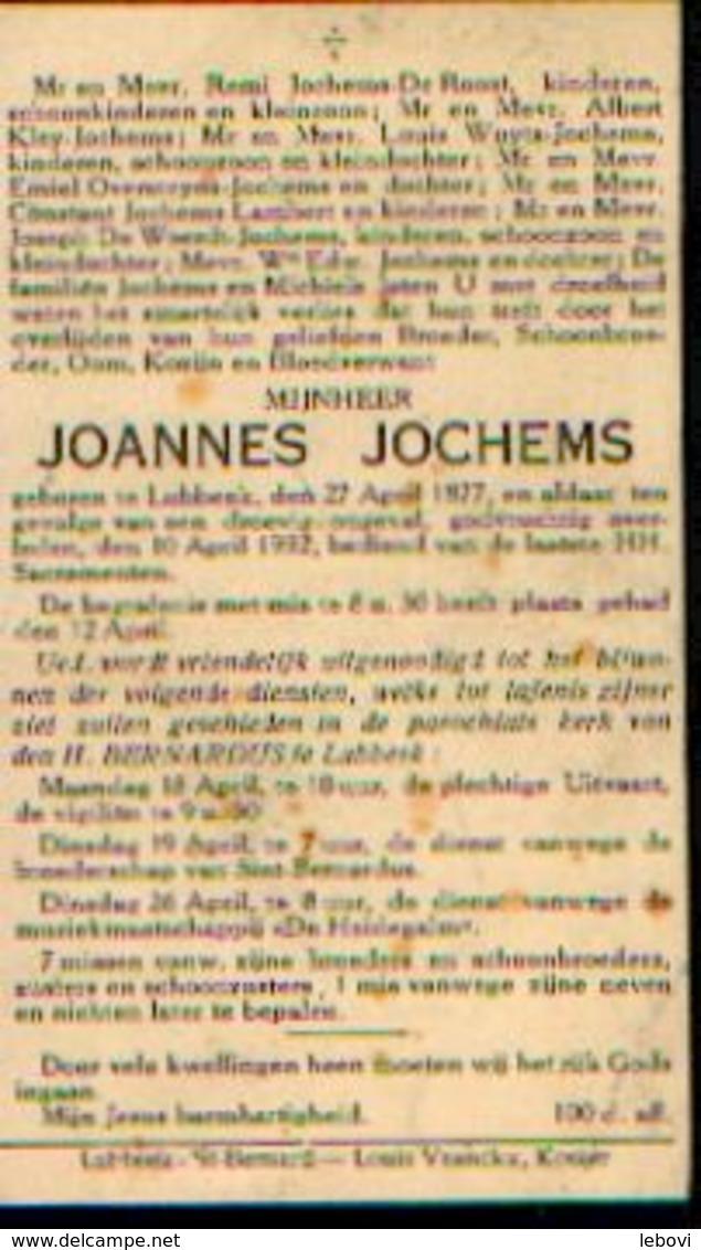 Souvenir Mortuaire JOCHEMS Joannes (1877-1932) Geboren En Overleden Te LUBBEEK - Images Religieuses