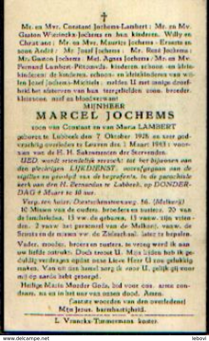 Souvenir Mortuaire JOCHEMS Marcel (1928-1943) Geboren Te LUBBEEK Overleden Te LEUVEN - Images Religieuses