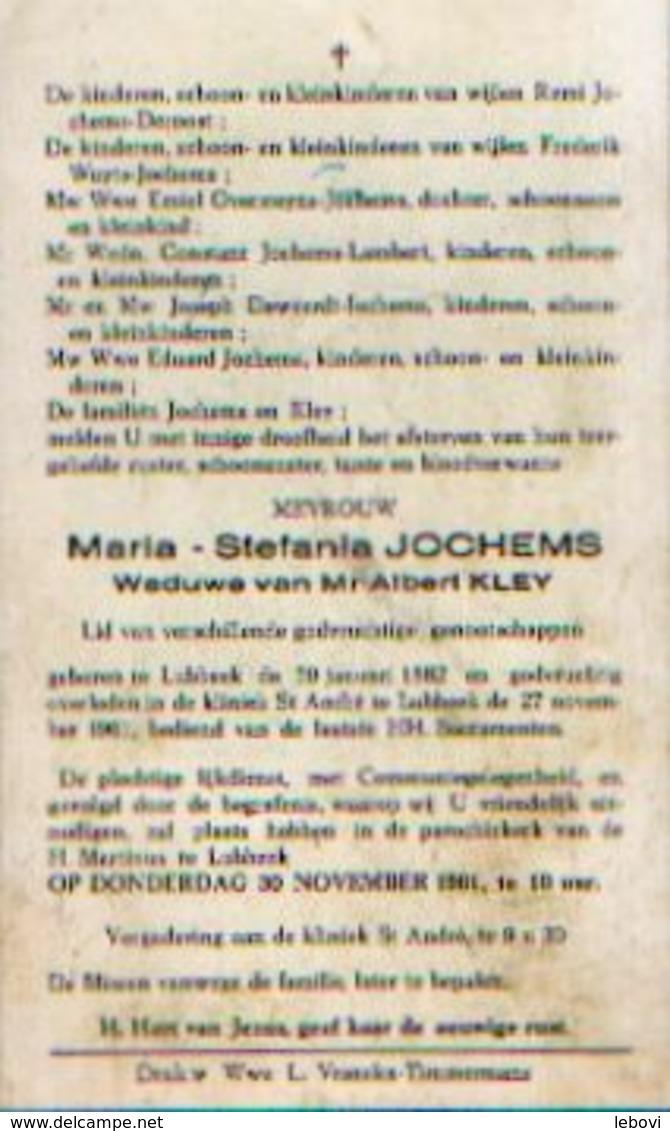 Souvenir Mortuaire JOCHEMS Maria (1882-1961) Wwe KLEY, A. Geboren En Overleden Te LUBBEEK - Images Religieuses