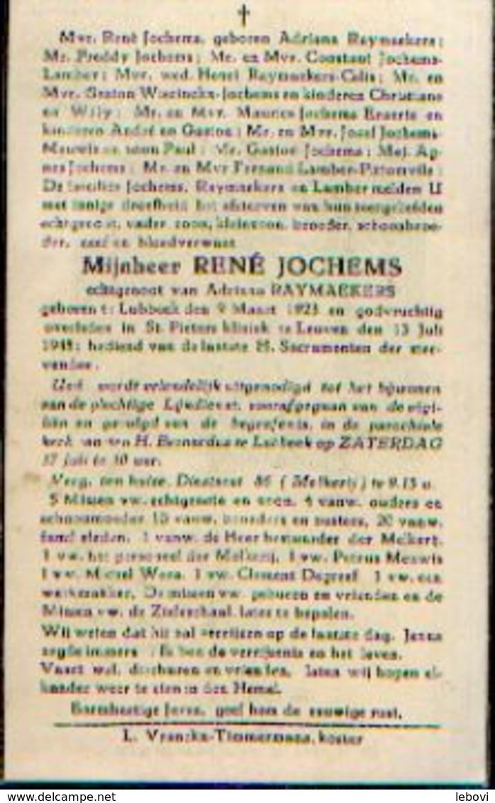 Souvenir Mortuaire JOCHEMS René (1923-1948) Geboren Te LUBBEEK Overleden Te LEUVEN - Images Religieuses