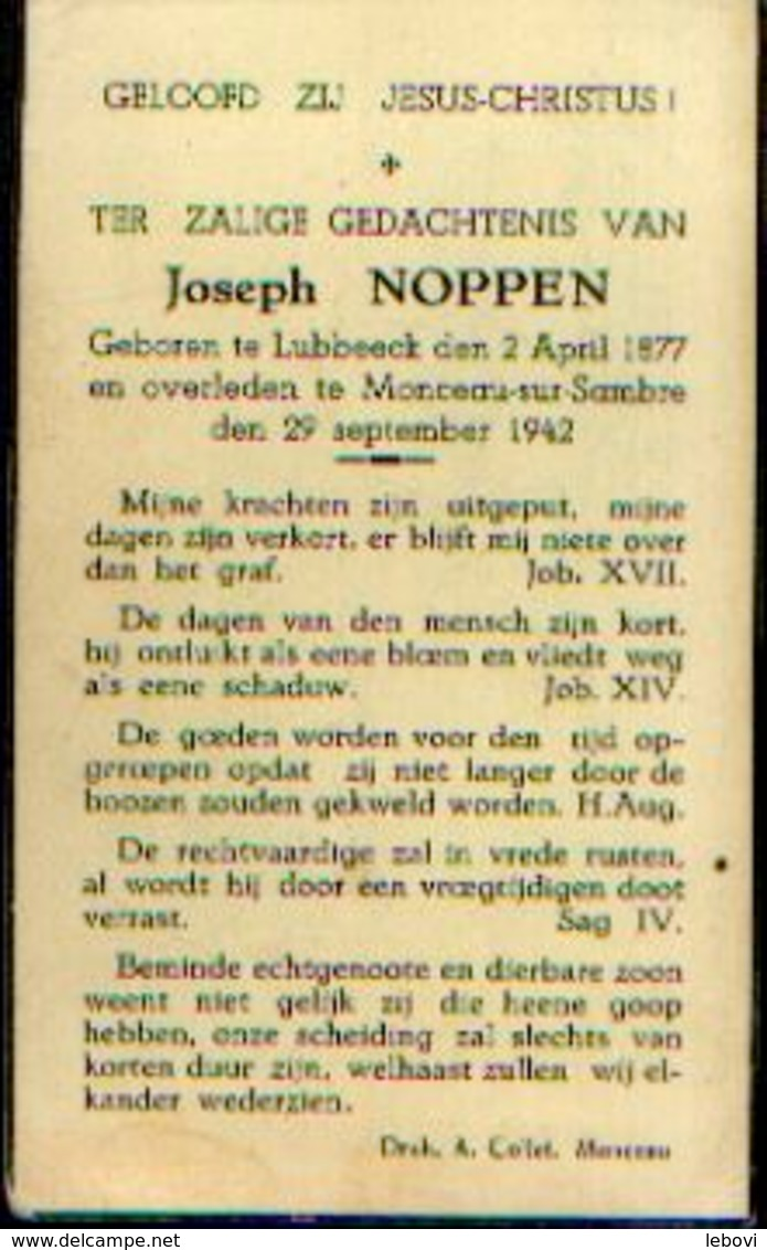 Souvenir Mortuaire NOPPEN Joseph (1877-1942) Geboren Te LUBBEEK Overleden Te MONCEAU-SUR-SAMBRE - Images Religieuses