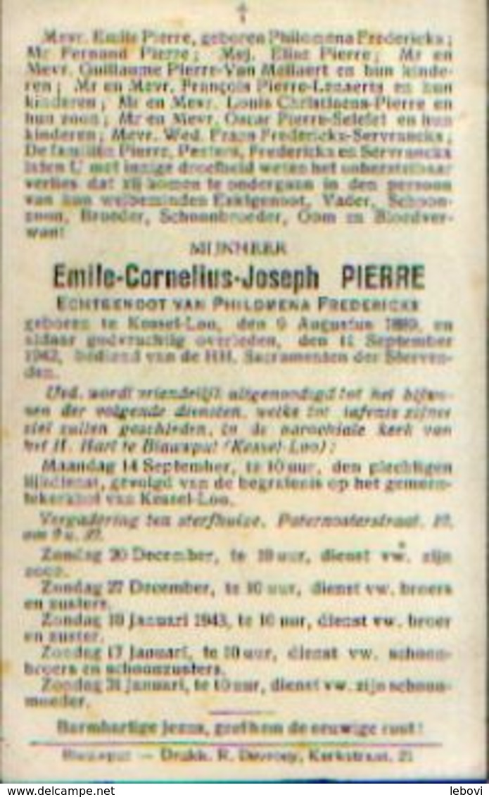 Souvenir Mortuaire PIERRE Emile (1889-1942) Geboren En Overleden Te KESSEL-LOO - Images Religieuses