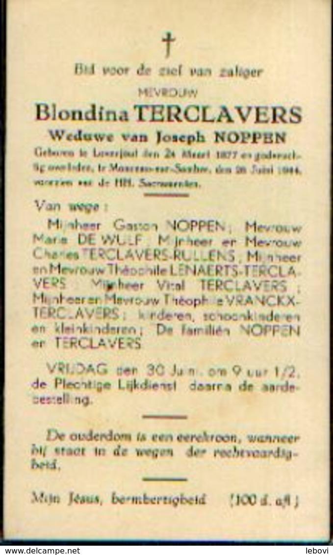 Souvenir Mortuaire TERCLAVERS Blondina (1877-1944) Wwe NOPPEN,J. Geboren Te LOWENJOUL Overleden Te MONCEAU-SUR-SAMBRE - Images Religieuses
