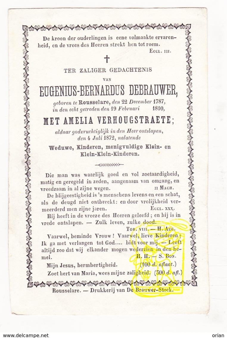 DP Eugenius B. De Brauwer ° Roeselare 1787 † 1872 X Amelia Verhougstraete - Images Religieuses