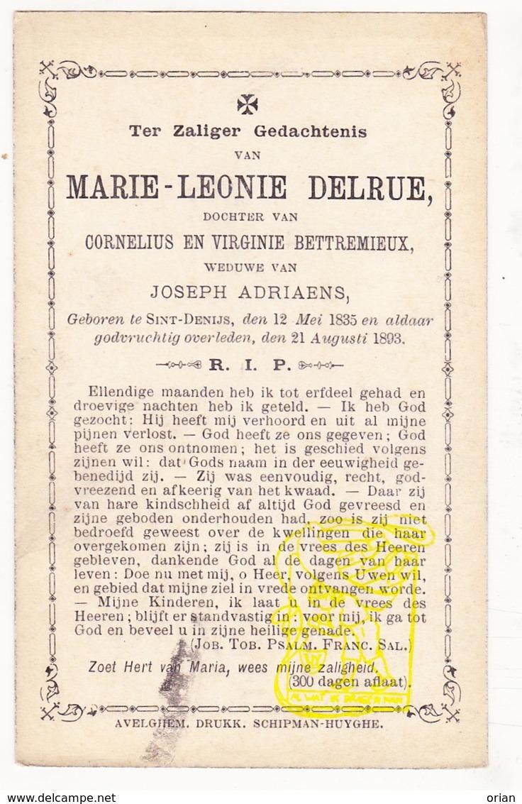 DP Marie L. Delrue / Bettremieux ° Sint-Denijs Zwevegem 1835 † 1893 X Joseph Adriaens - Images Religieuses
