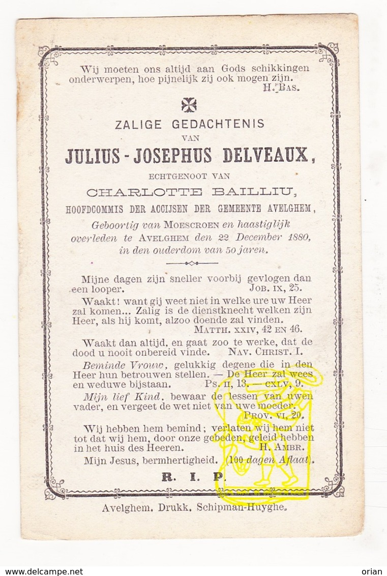 DP Hoofdcommis Accijnsen - Julius J. Delveaux ° Moeskroen Mouscron 1830 † Avelgem 1880 X Charlotte Bailliu - Images Religieuses