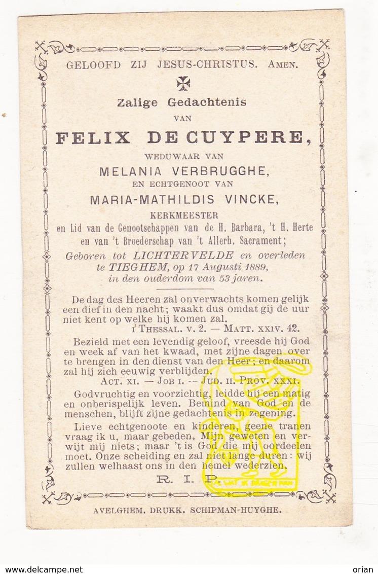 DP Felix De Cuypere ° Lichtervelde 1836 † Tiegem Anzegem 1889 X M. Verbrugghe Xx M. Math. Vincke - Images Religieuses