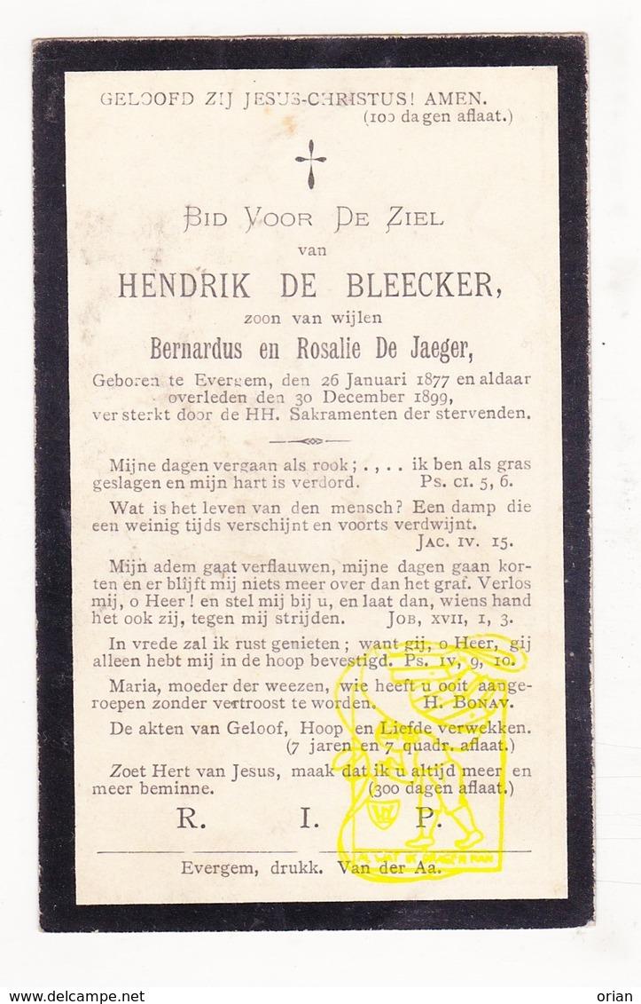 DP Hendrik De Bleecker / De Jaeger 22j. ° Evergem 1877 † 1899 - Images Religieuses