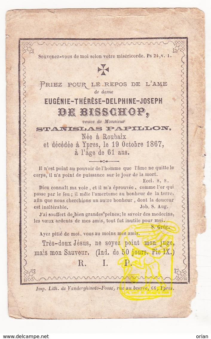 DP Eugénie Th. De Bisschop ° Roubaix FR Nord 1806 † Ieper BE 1867 X Stanislas Papillon - Images Religieuses