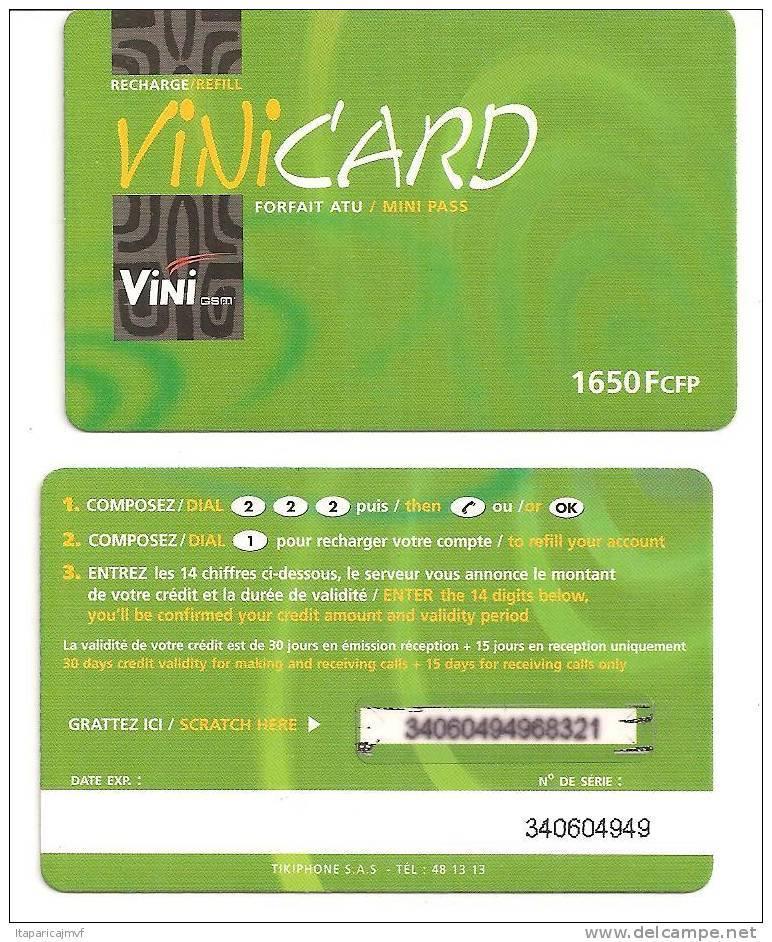 Telecarte Polynésie Française:  VINI CARD   VERT  :   1650   Fcfp - French Polynesia