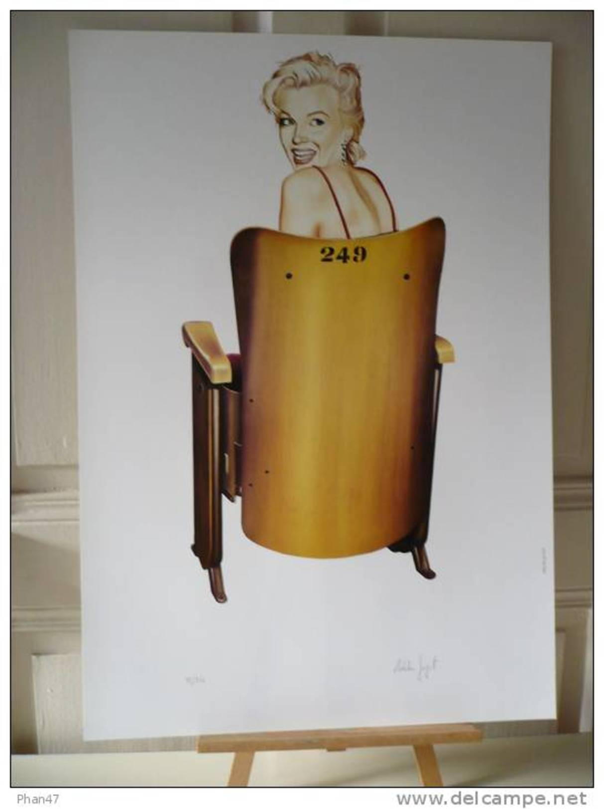 GUYOT Adelin, Marilyn Monroe Sur Un Fauteuil De Cinéma,  Affiche De Galerie, Signée Main, Numérotée, Parfaitement Neuve - Affiches