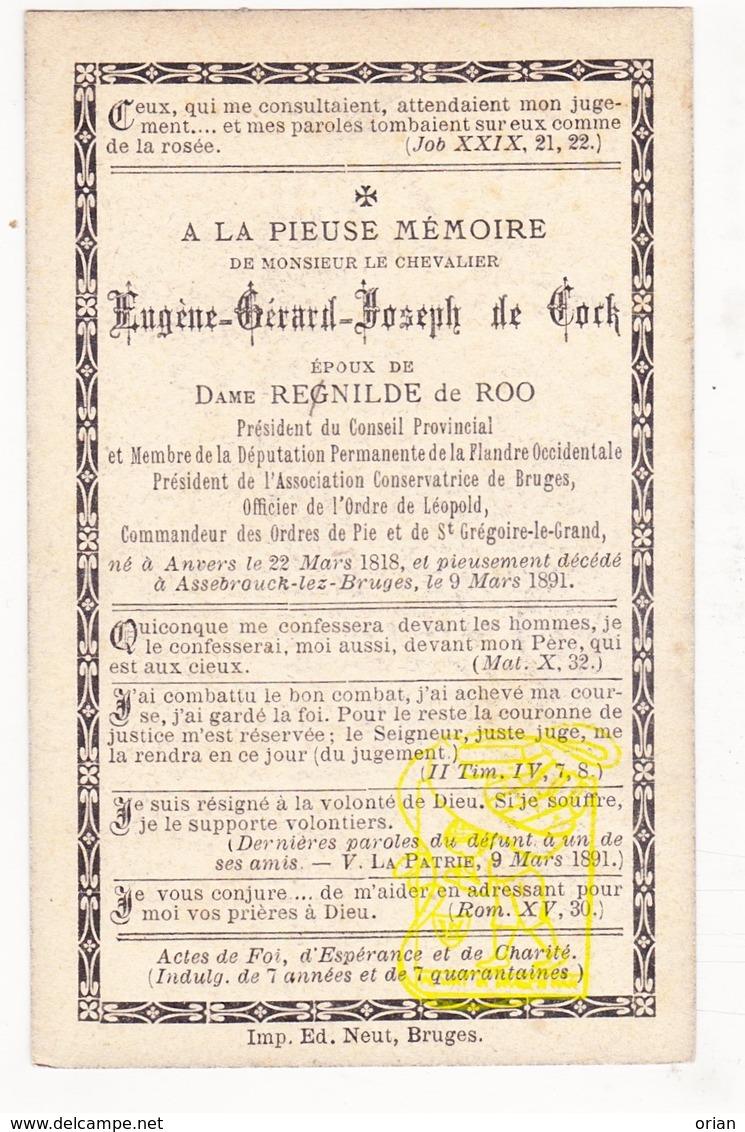 DP Adel Noblesse - Eugène Gérard J. De Cock / Kellerman ° Antwerpen 1818 † Assebroek Brugge 1891 X Renilde De Roo - Images Religieuses
