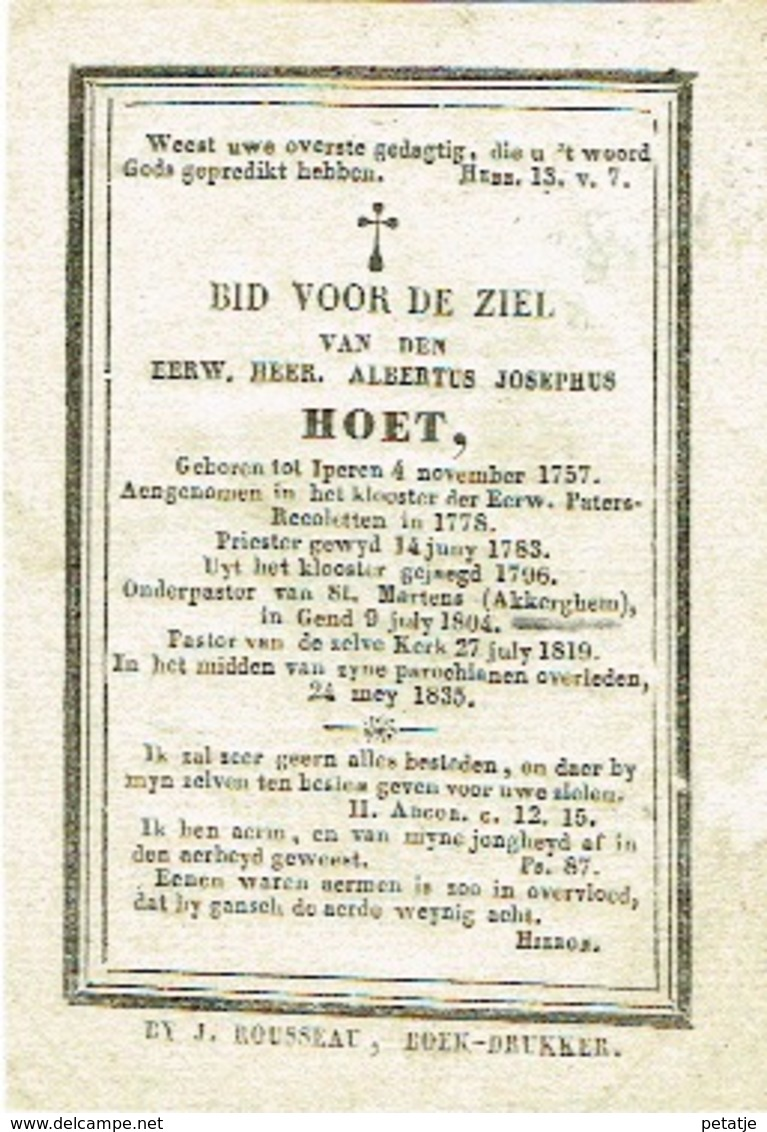 Eerwaarde Heer Albertus Josephus Hoet - Images Religieuses
