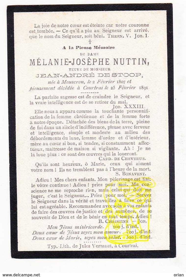DP Mélanie J. Nuttin ° Moeskroen Mouscron 1807 † Kortrijk 1891 X Jean André De Stoop - Images Religieuses