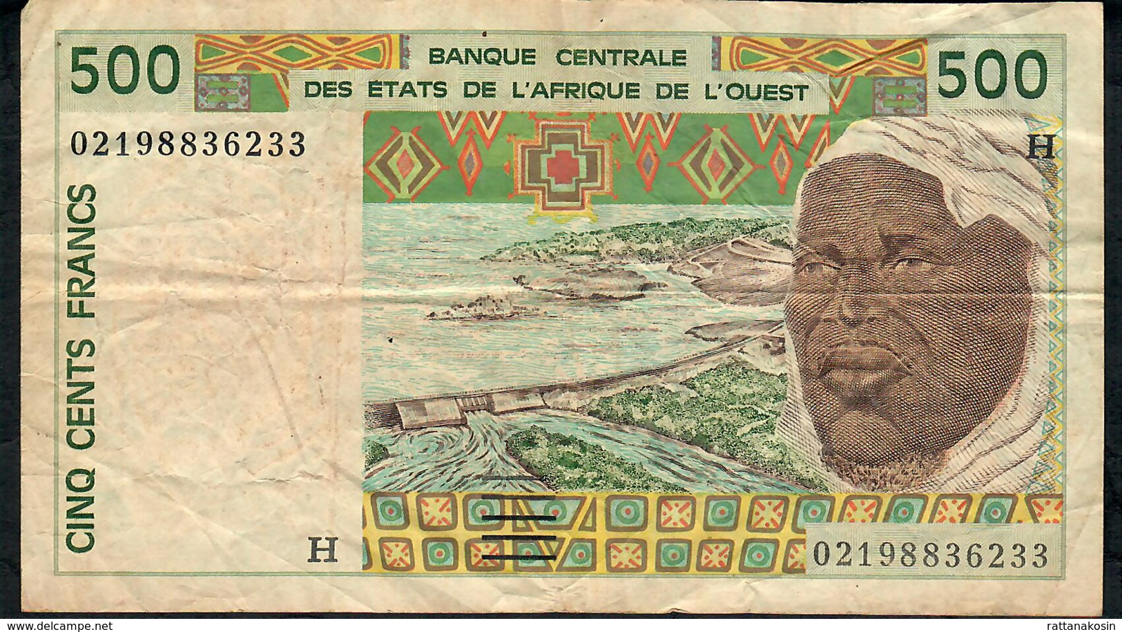 W.A.S. NIGER  P610Hl  500 FRANCS (20)02 FINE NO P.h. - Niger
