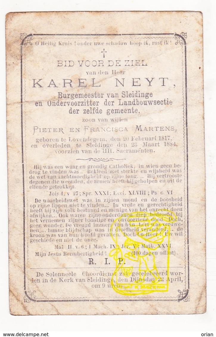 DP Curiosum ?? Burgemeester Sleidinge - Karel Neyt / Martens ° Lovendegem 1817 † Sleidinge Evergem 1884 - Images Religieuses