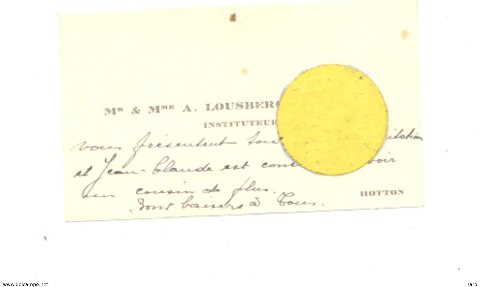 Carte De Visite De Mr A. Lousberg, Instituteur à HOTTON Année 194... ?? (b246) - Cartes De Visite