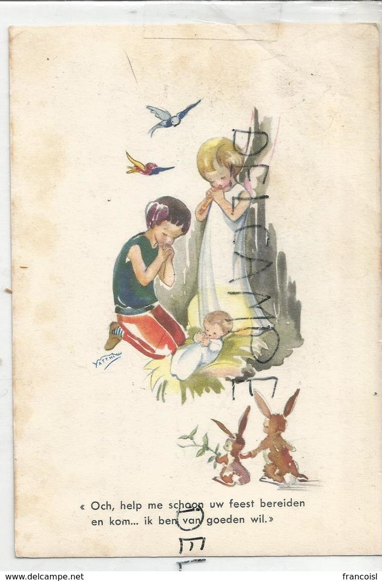 Petit Garçon Et Ange En Adoration Devant L'Enfant-Jésus. Deux Lapins, Oiseaux. Signé Yarrni. - Images Religieuses