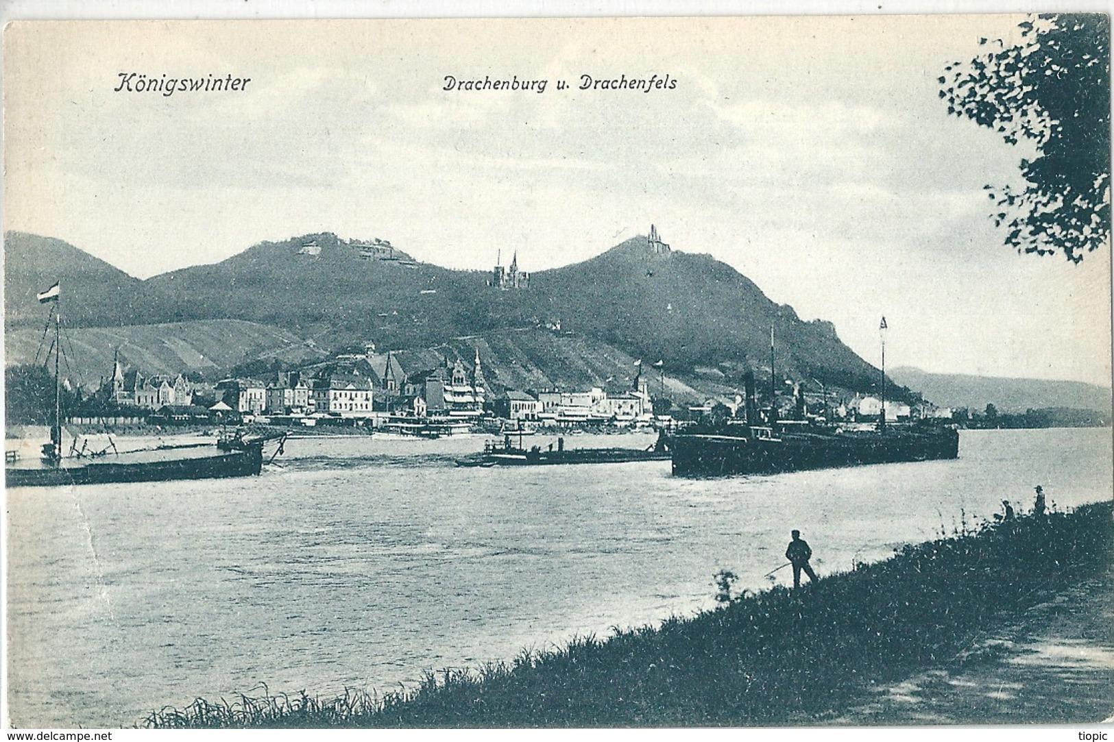 KONIGSWINTER    ( Allemagne )    Drachenburg  U.  Drachenfels .     T.B.E. - Koenigswinter