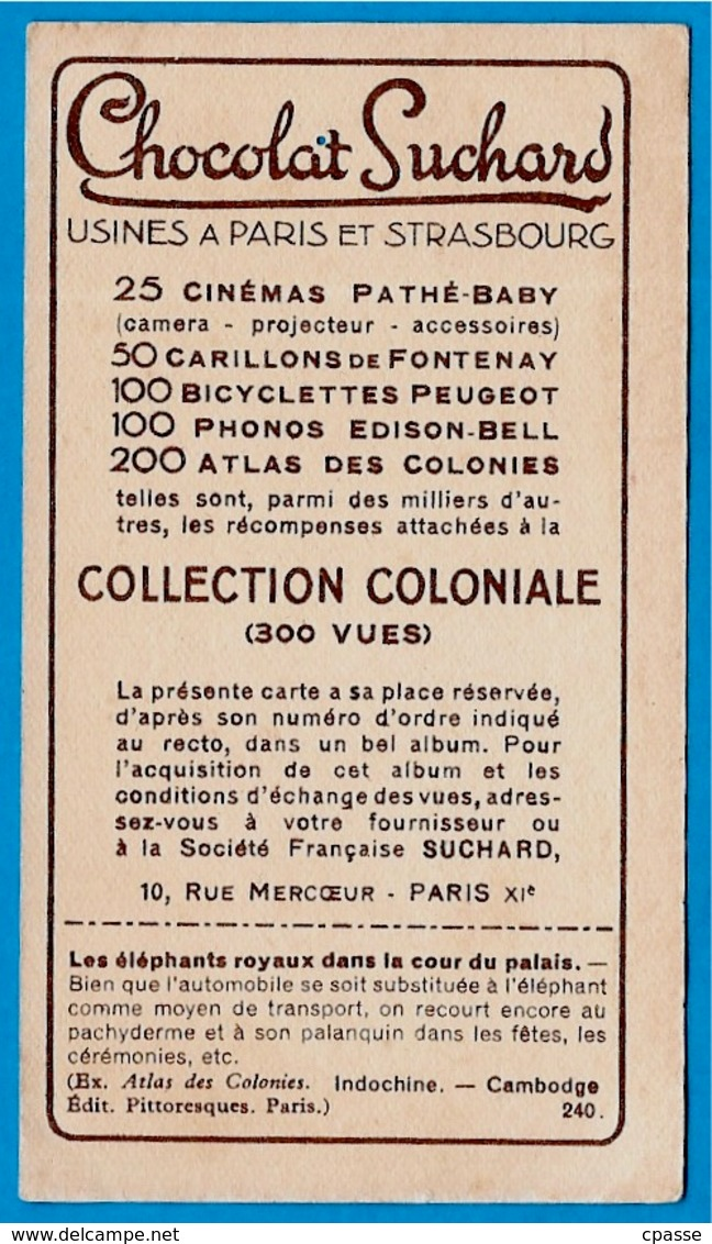 """IMAGE - PNOM PENH - Les Eléphants Royaux - CAMBODGE °  Chocolat Suchard """"Collection Coloniale"""" * - Suchard"""