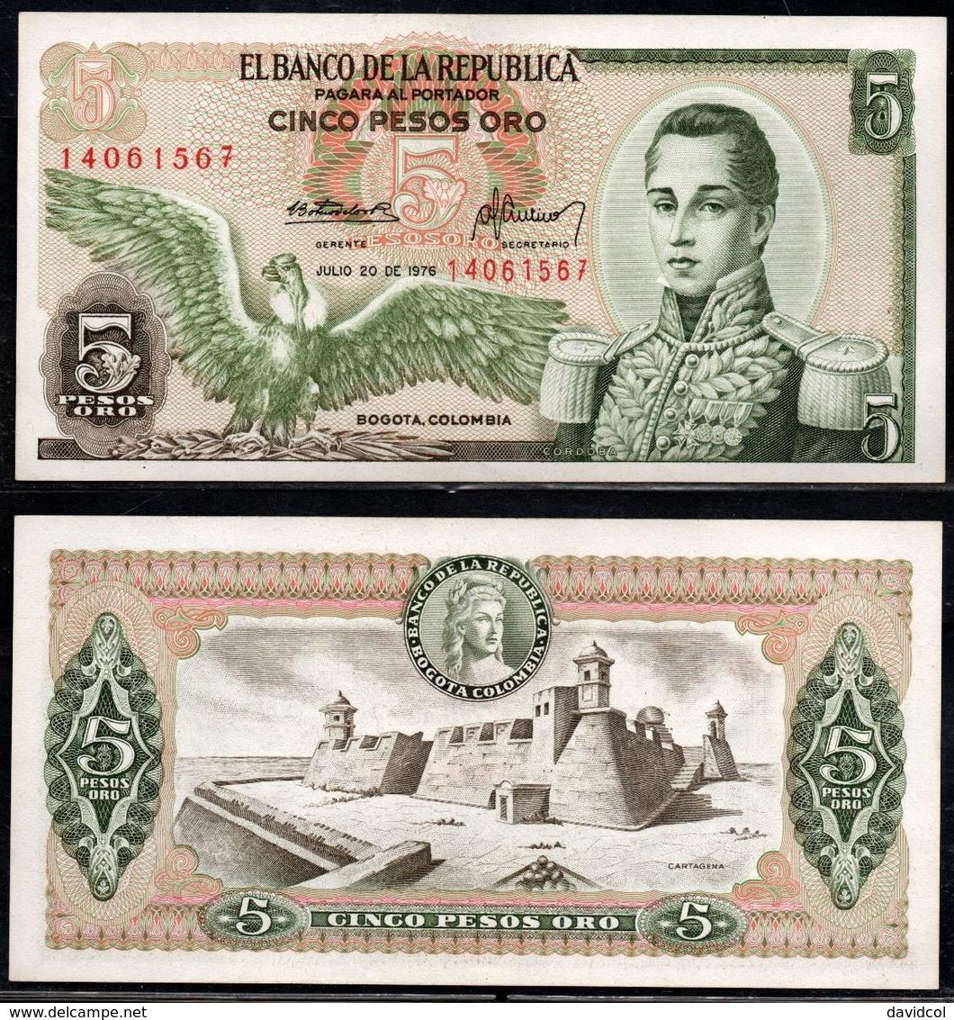 COLOMBIA - 1976 - CINCO PESOS ORO ( $ 5 ) - UNCIRCULATED. CONDITION 9/10 - Colombie