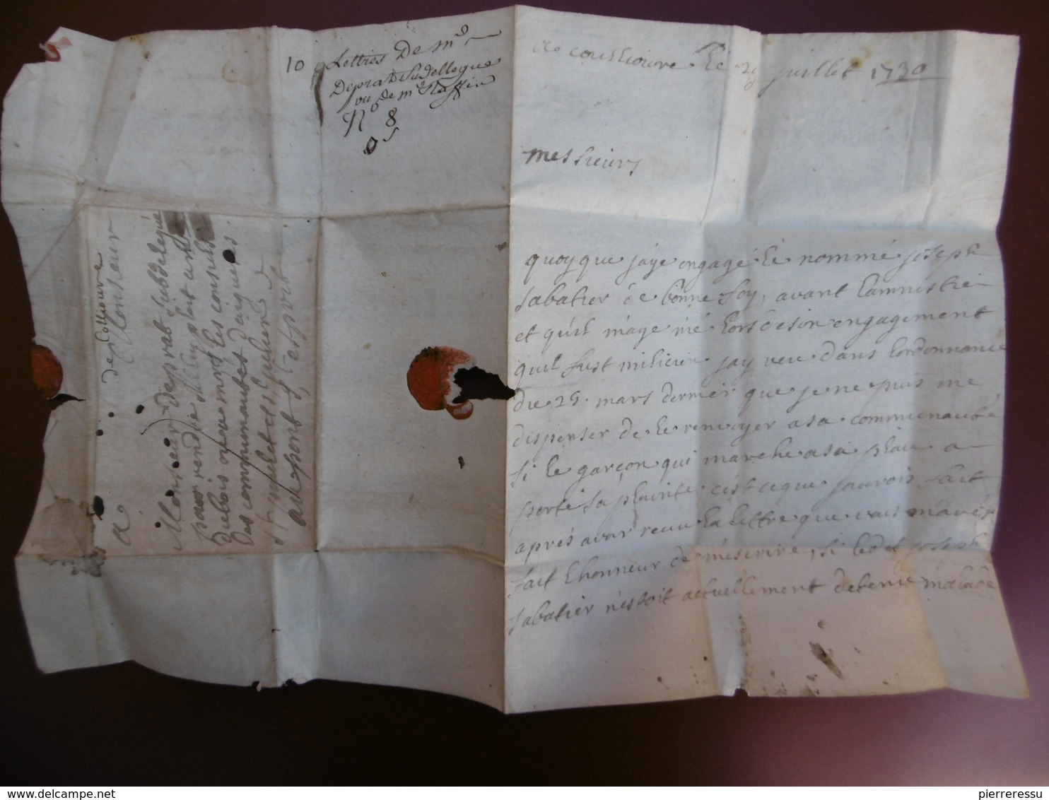 LETTRE MARQUE MANUSCRITE DE COLLIOURE SIGNE PRAT VIA PONT St ESPRIT 1730 A LIRE - Marcophilie (Lettres)