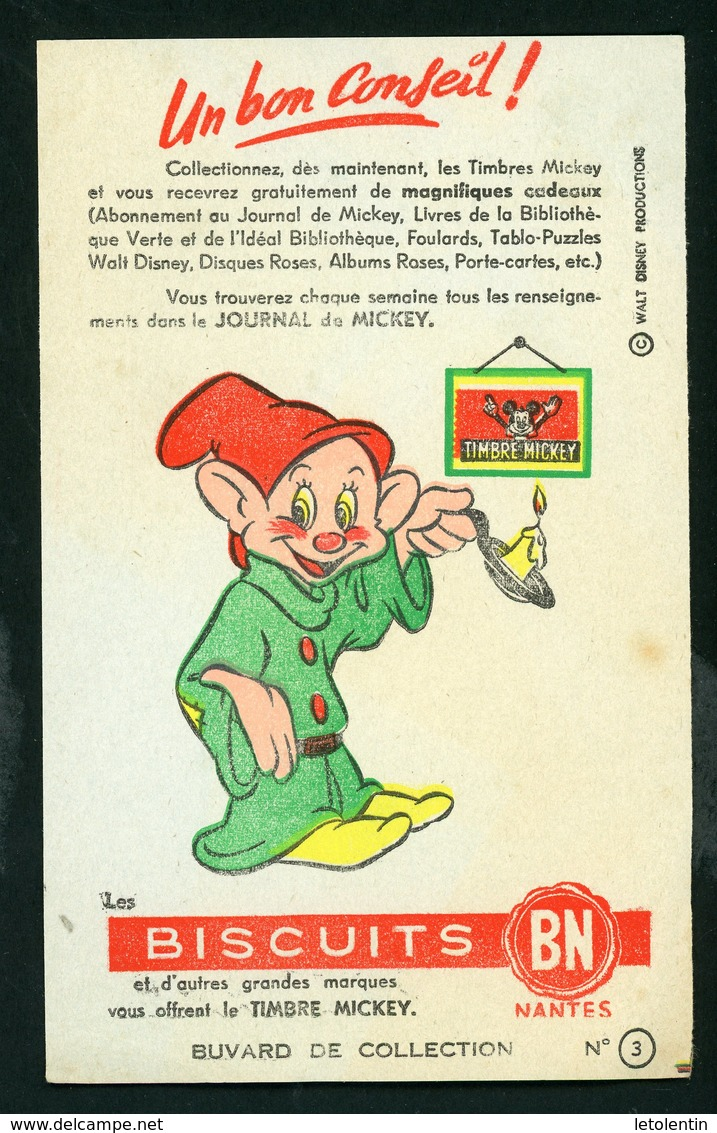 BUVARD:  UN BON CONSEIL! BISCUITS BN (TIMBRE MICKEY) - Buvards, Protège-cahiers Illustrés