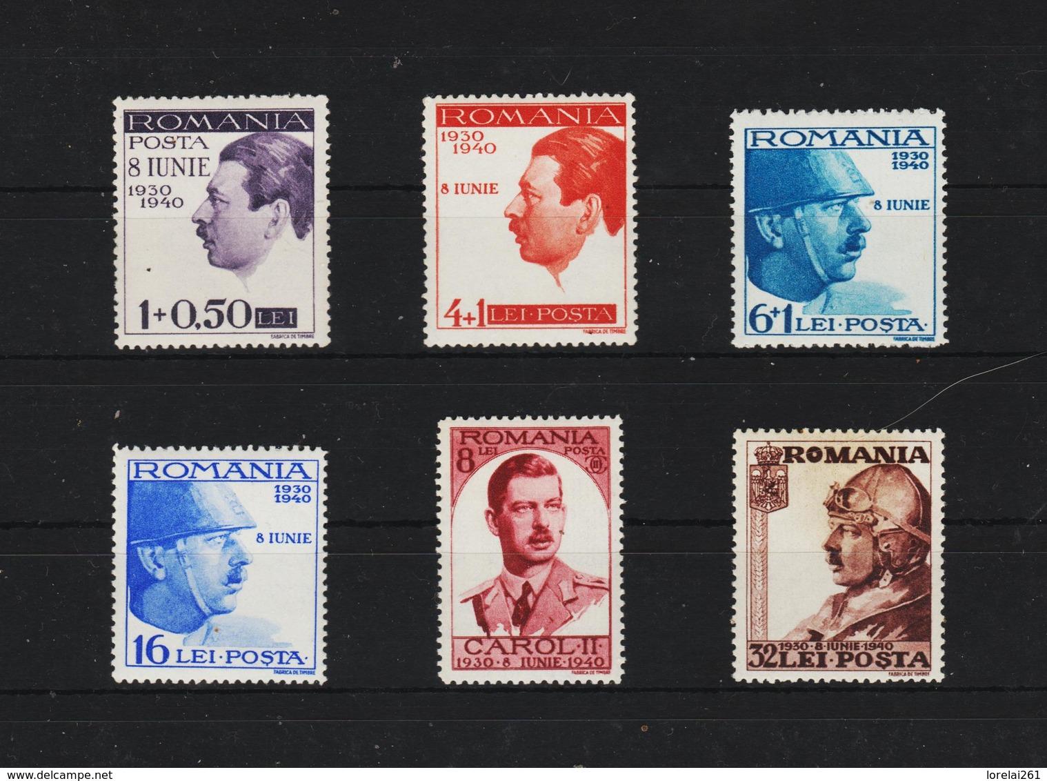 1940 - Roy Carol 10 Ans De Règne Mi No 625/630  MNH - 1918-1948 Ferdinand, Carol II. & Mihai I.