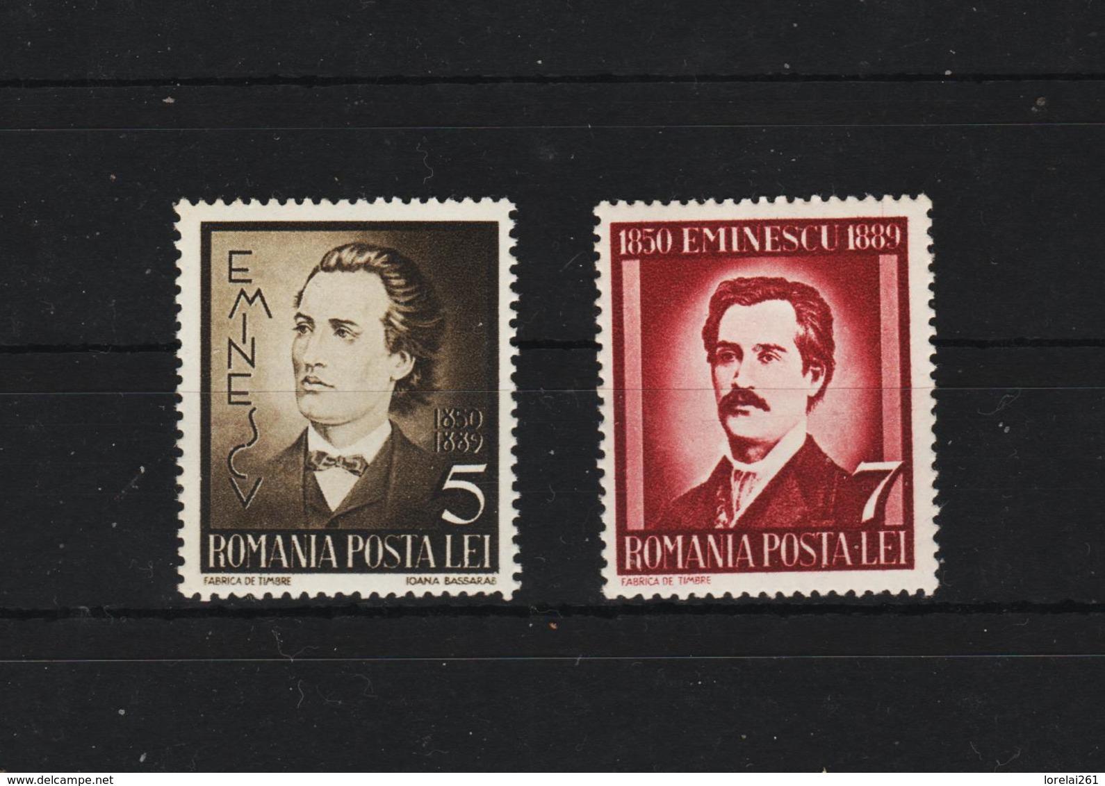 1939 - Mihai Eminescu Mi No 596/597  MNH - 1918-1948 Ferdinand, Carol II. & Mihai I.