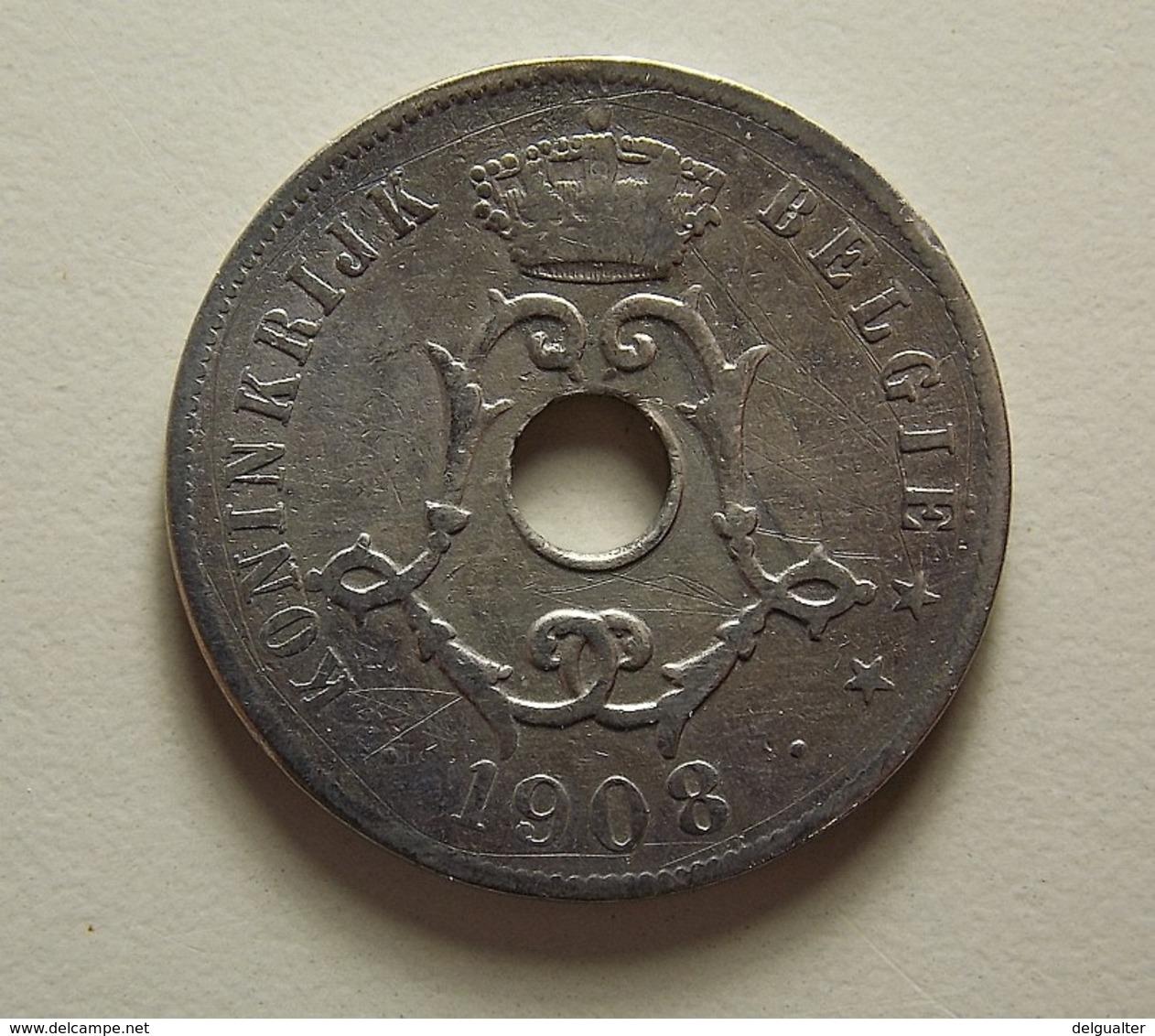 Belgium 25 Centimes 1908 Varnished - 1865-1909: Leopold II